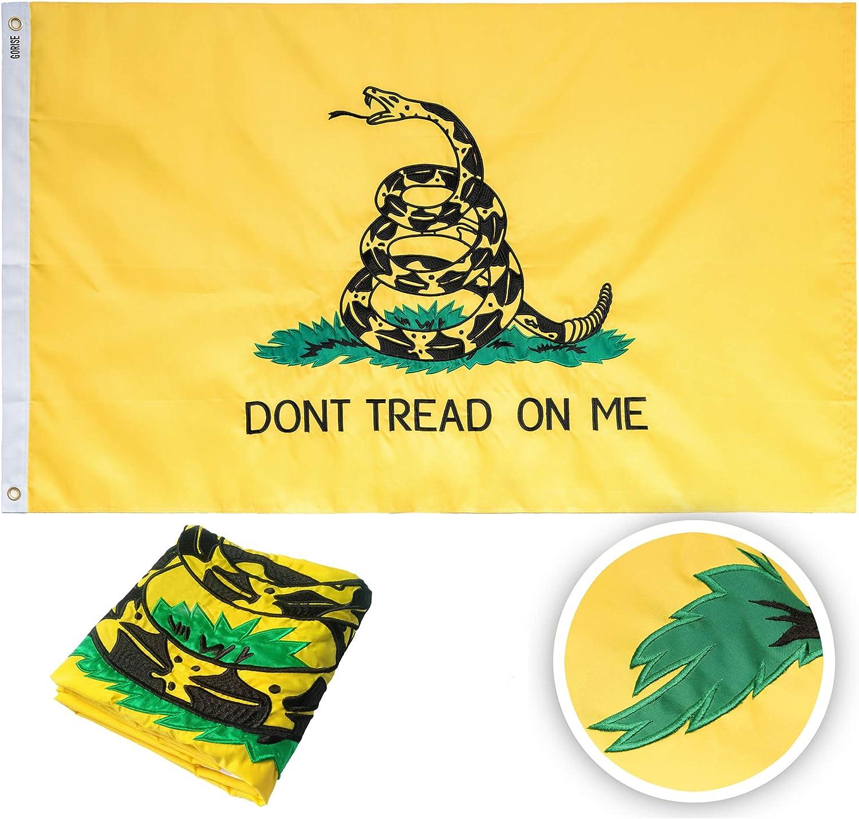 GORISE Gadsden Dont Tread On Me Flag 3x5 ft Embroidered Gadsden Flag, Sewn Stripes and Brass Grommets, UV Protected Tea Party Flag Outdoor Garden Decor (Gadsden Flag 3x5)