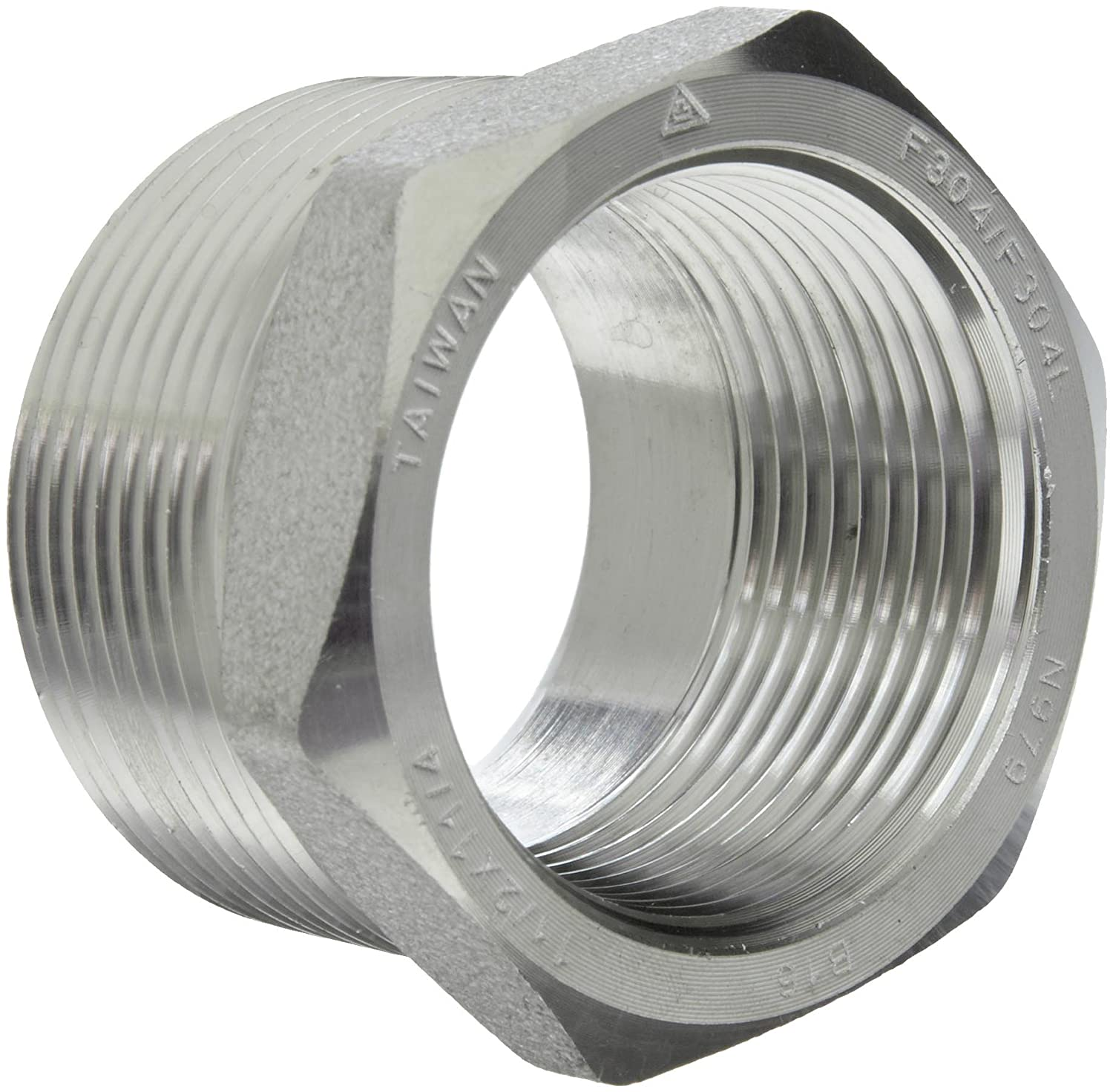 304//304L Forged Stainless Steel Pipe Fitting Bushing 1 NPT Male X 3//4 NPT Female Class 3000