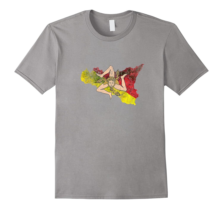Sicily Flag and Map Sicilian Pride T-Shirt-Vaci