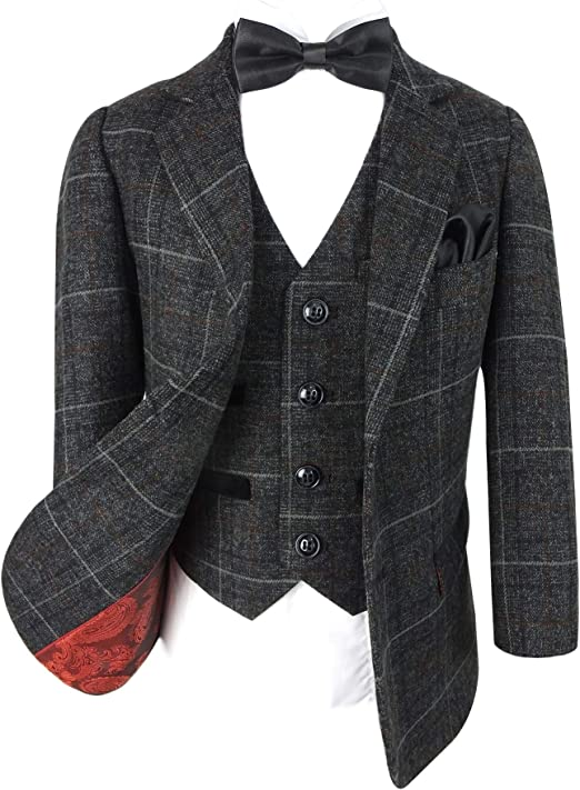 SIRRI Paul Andrew Men/'s Tailored Fit Brown Retro Wool Blend Tweed Blazer with Elbow Patches