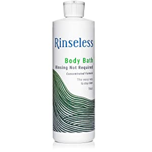 Rinseless Body Bath Wash 16 Oz | Waterless Non Rinse Concentrated Formula Makes 16 Sponge Baths