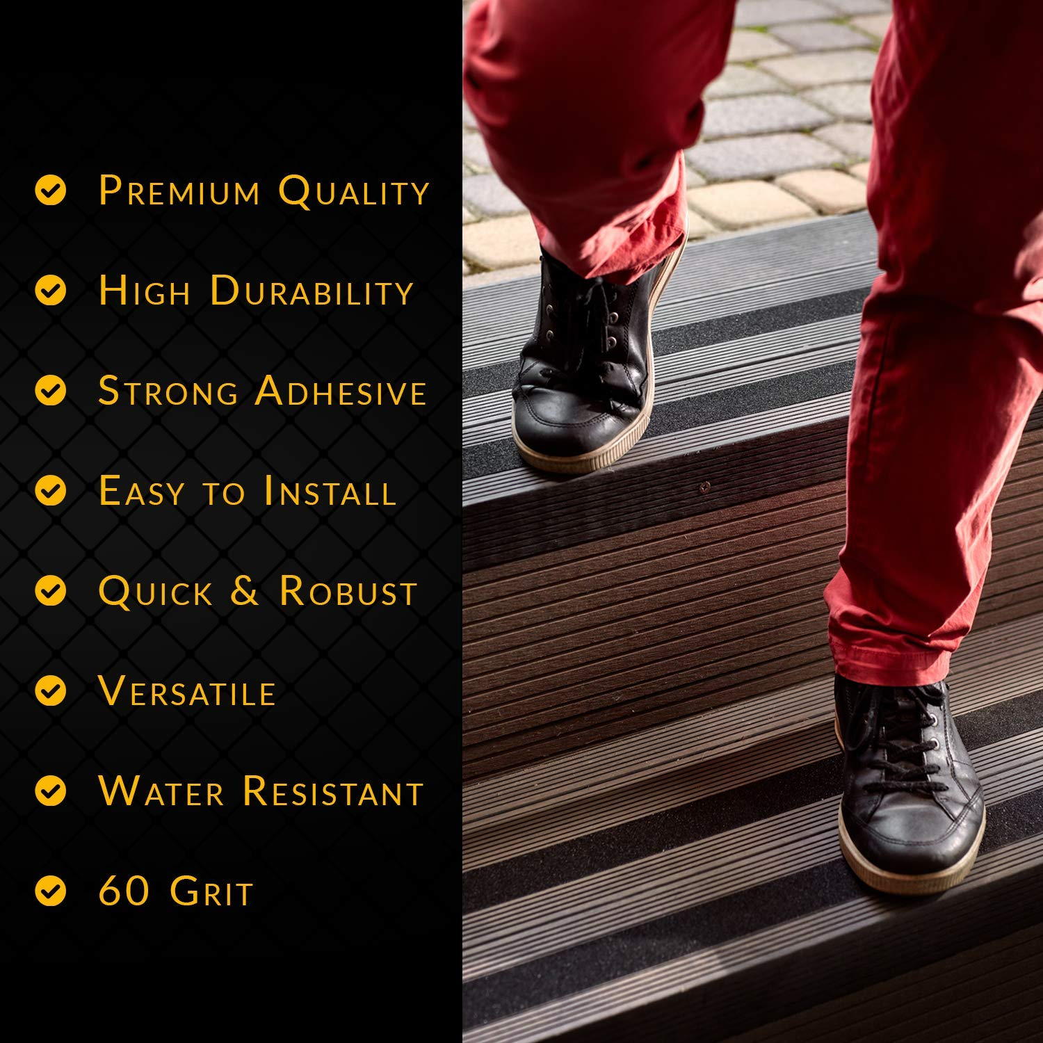 Various Sizes /& Colours Steps Stairs Strong Adhesive Non Slip Grip for Safety NAC INDUSTRIAL Anti Slip Tape NAC SAFETY STANDARD 2 x 60 feet, Transparent Ladders Indoor//Outdoor