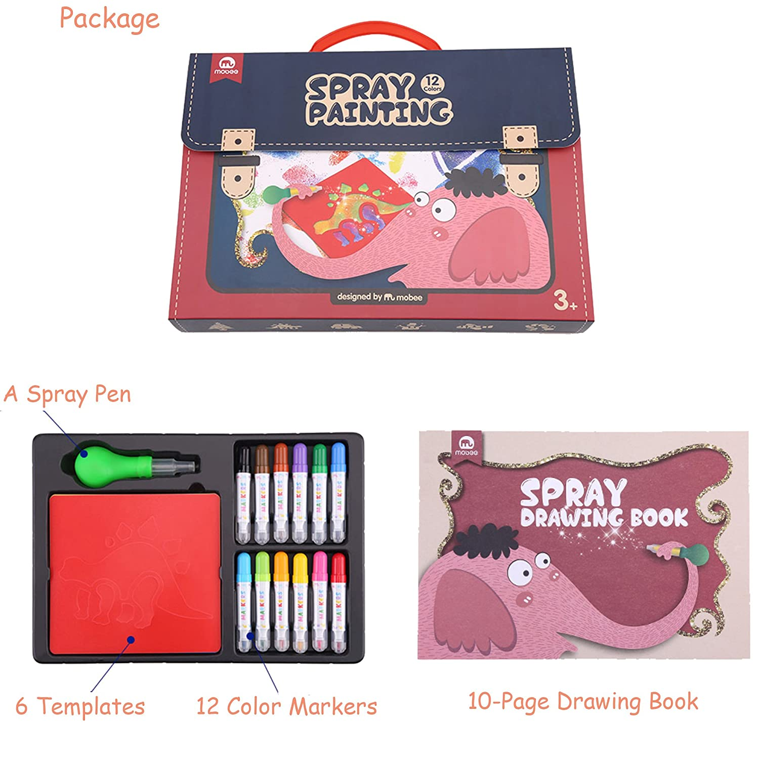Amazon Mobee Kids Spray Painting Set With 12 Color Markers 6 Templates A Pen And Drawing Book Creative Toys Airbrush Marker Sprayer