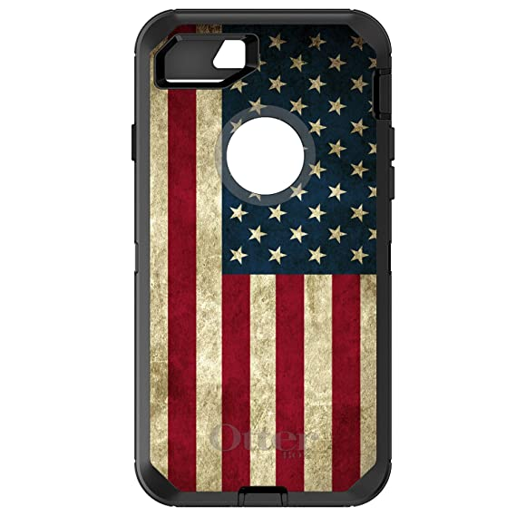 watch c9945 37f3d DistinctInk Case for iPhone 7 / iPhone 8 (NOT Plus) - OtterBox Defender  Black Custom Case - Red White Blue United States Flag Old - Show Your Love  of ...