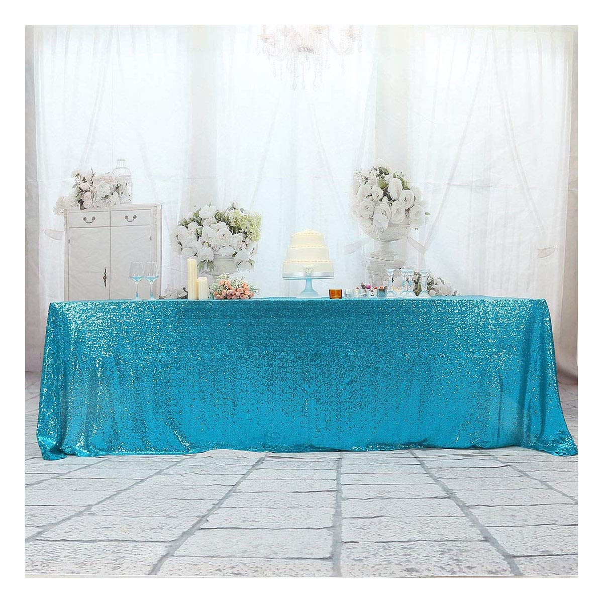 3e Home 60x102 Rectangle Sequin Tablecloth for Wedding Party Cake Table, Turquoise