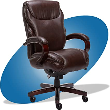 La Z Boy Hyland Executive Office Chair With Air Technology Adjustable High Back Ergonomic Lumbar Support Bonded Leather Brown With Mahogany Wood Finish Furniture Decor Amazon Com