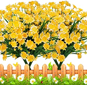 TURNMEON 8 Bundles Artificial Flowers UV Resistant Outdoor Decoration-Faux Plastic Daisy Greenery Shrub Plant Indoor Outside Hanging Planter Wedding Home Garden Office Window Box Hanging Décor(Yellow)