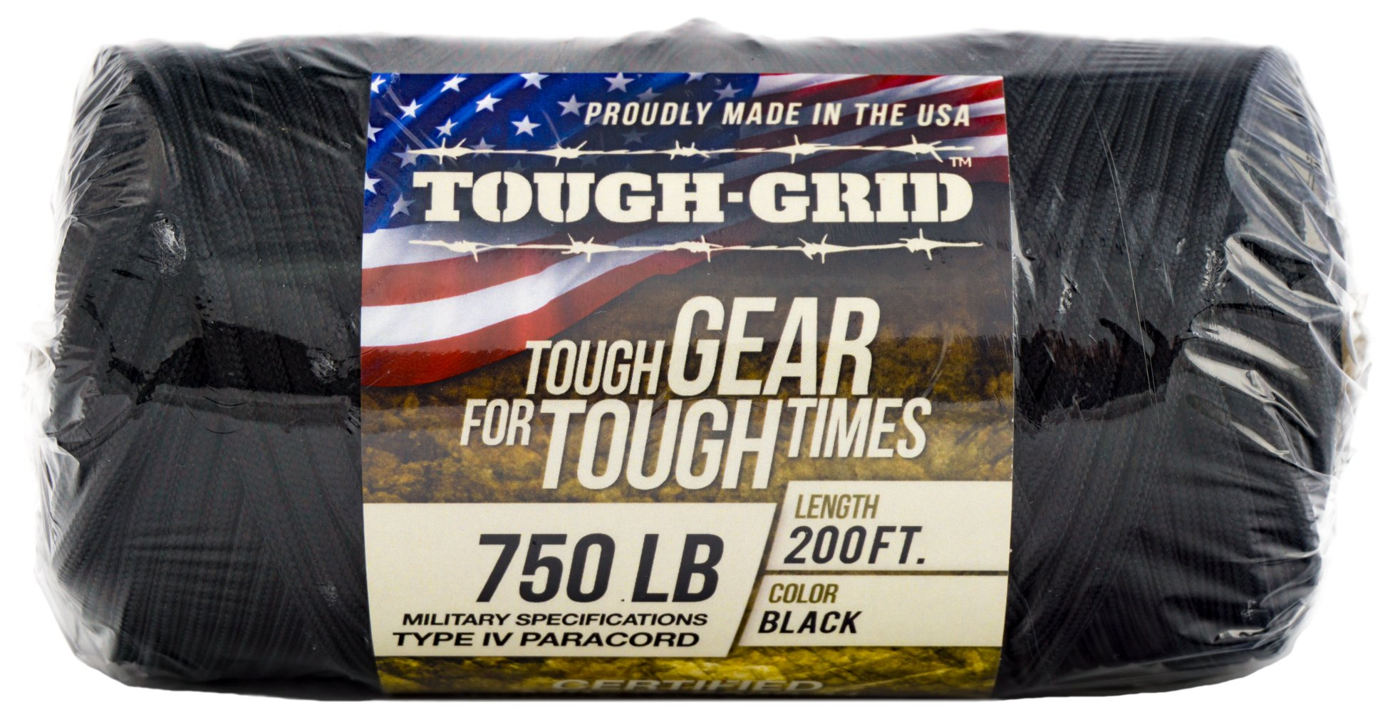TOUGH-GRID 750lb Black Paracord/Parachute Cord - Genuine Mil Spec Type IV 750lb Paracord Used by The US Military (MIl-C-5040-H) - 100% Nylon - Made in The USA. 50Ft. - Black by TOUGH-GRID (Image #9)