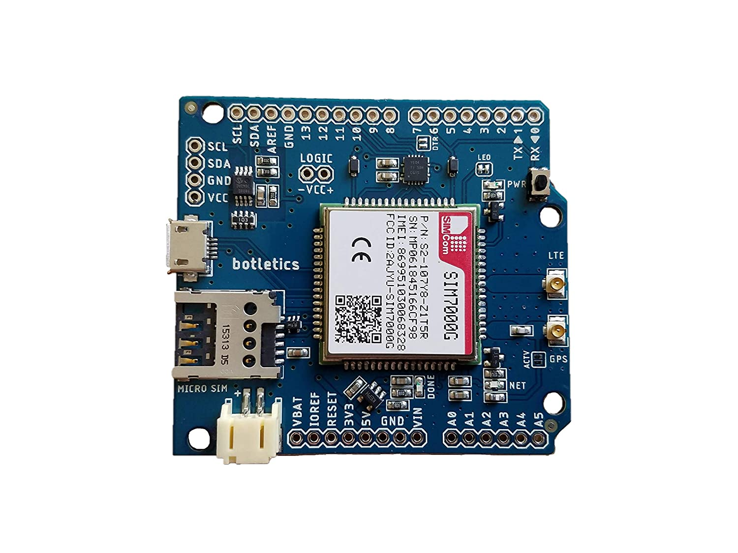 Botletics SIM7000 LTE CAT-M1 NB-IoT Cellular + GPS + Antenna Shield Kit for  Arduino (SIM7000G)