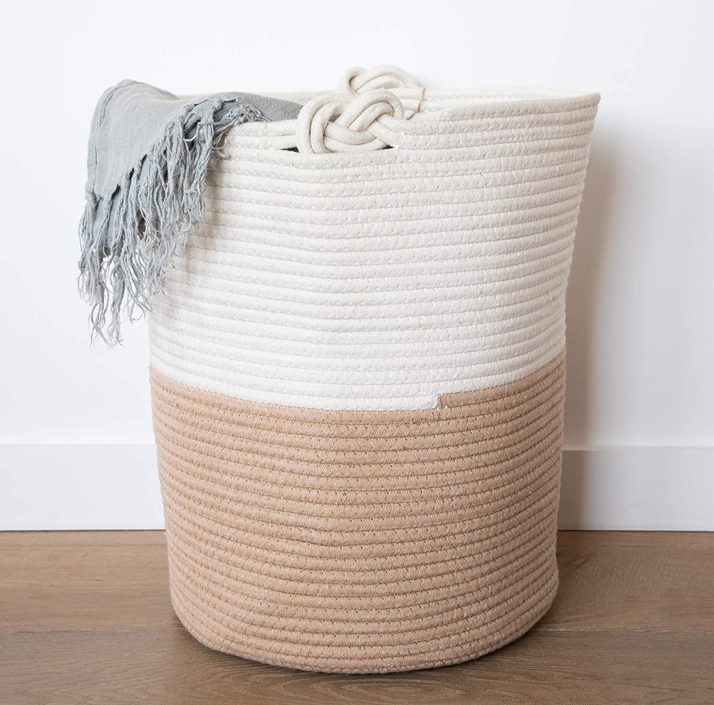 Large Cotton Rope Storage Baskets Laundry Woven 18 x16 Blanket Holder with Handles Baby Hamper Toy Bin Round Decorative Organizer for Shoe Closet Nursery Living Room Shelf