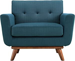 Modway Engage Mid-Century Modern Upholstered Fabric Accent Arm Lounge Chair in Azure