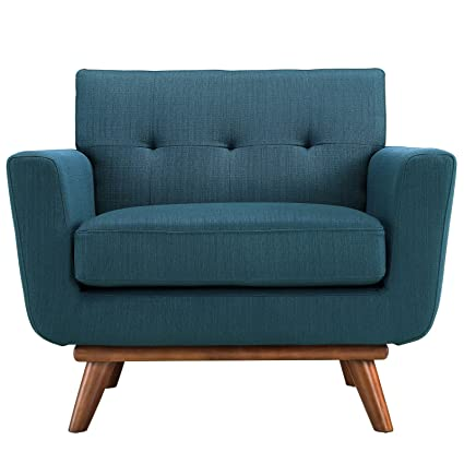 Modway Engage Mid Century Modern Upholstered Fabric Armchair In Azure