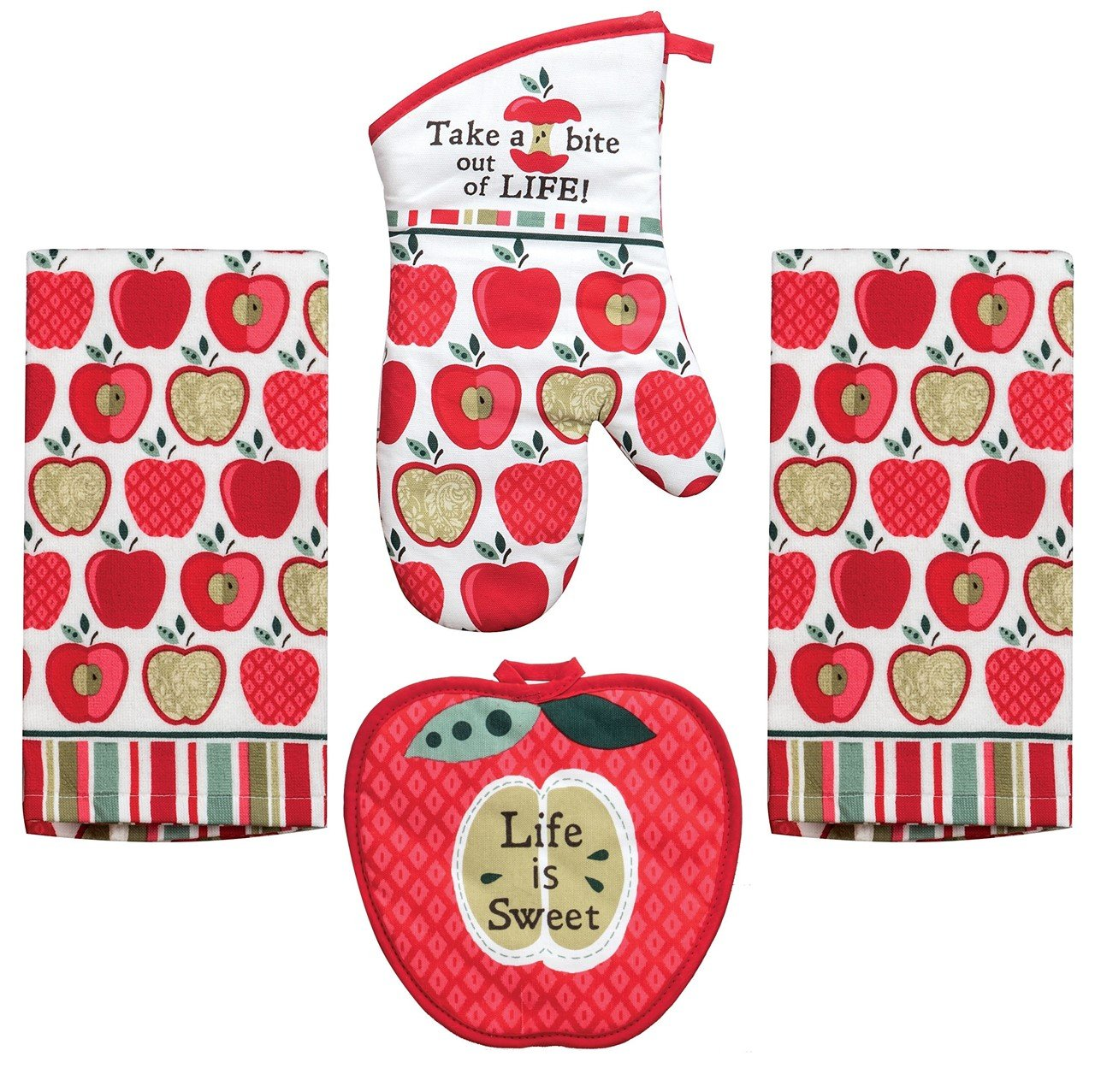 Kay Dee 4 Piece Kitchen Set - 2 Terry Towels, Oven Mitt, Potholder