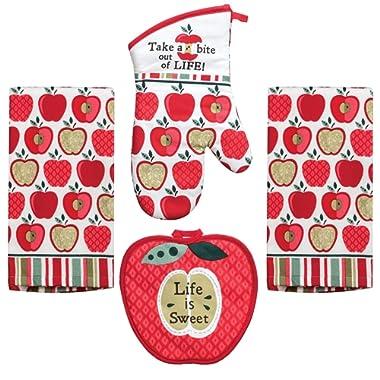 Kay Dee 4 Piece Kitchen Set - 2 Terry Towels, Oven Mitt, Potholder (Happy Apple)