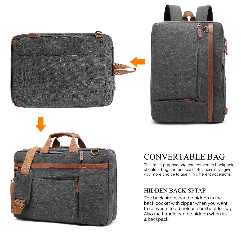 e6909b139cb9 CoolBELL Convertible Backpack Shoulder Bag Messenger Bag Laptop Case  Business Briefcase Leisure Handbag Multi-Functional Travel ...