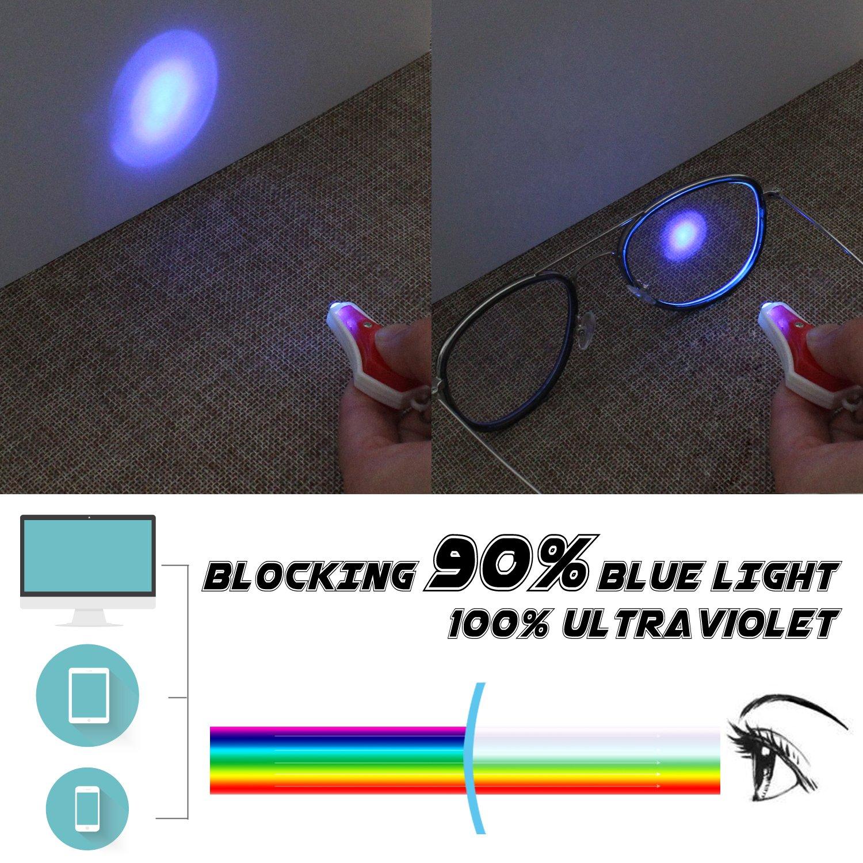 GQ27 100/% de protecci/ón UV Lente Transparente Marco de Metal cl/ásico Aviador Fatiga Ocular Anti GQUEEN Elegantes Gafas de computadora con Filtro de luz Azul antideslumbrante