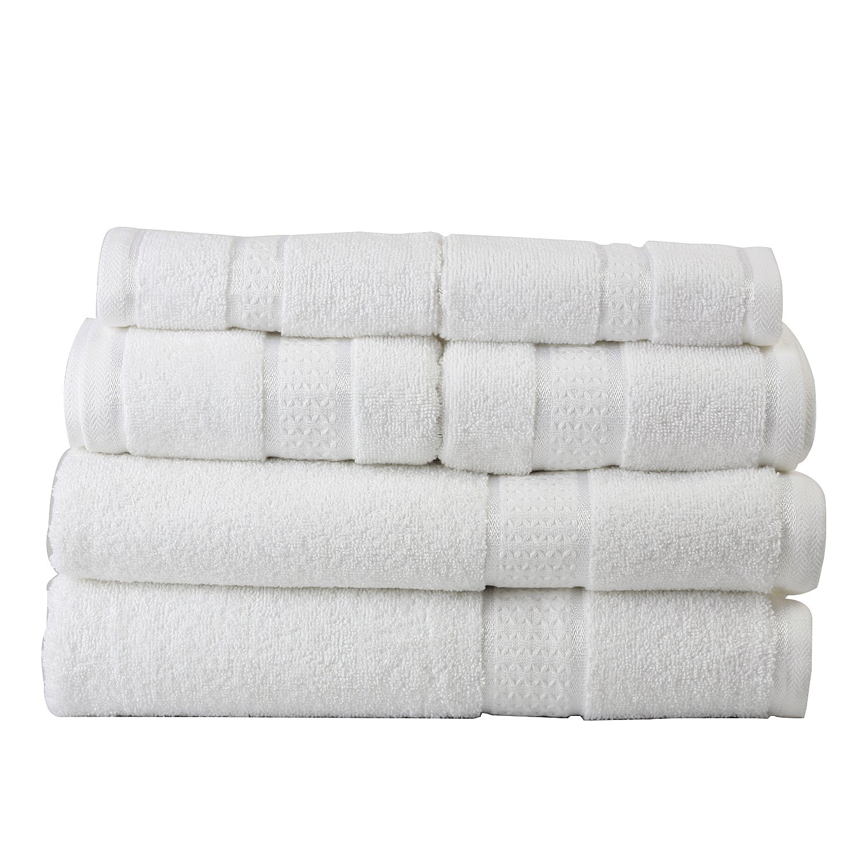 Ultra Soft 100% Cotton 6 Piece Towel Set (White): 2 Bath Towels, 2 Hand Towels, 2 Washcloths, Long-staple Cotton, Spa Hotel Quality, Super Absorbent, Machine Washable