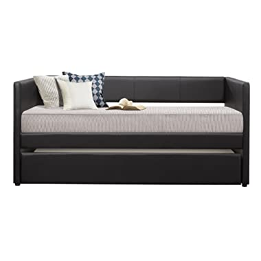 Homelegance Adra PU Leather Upholstered Daybed with Trundle, Twin, Black