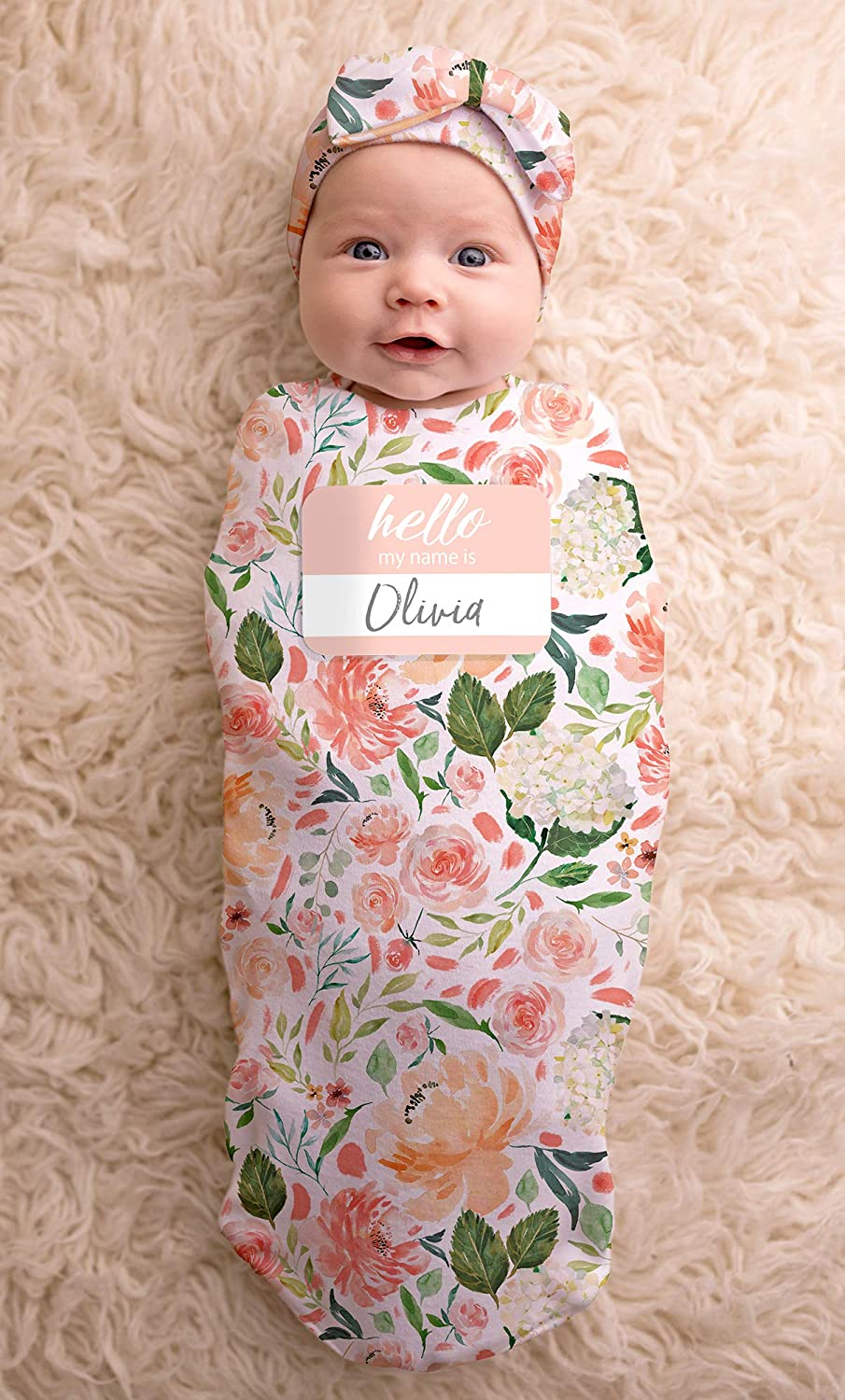 Itzy Ritzy Cocoon and Hat Swaddle Set, Cutie Cocoon Includes Name Announcement Card and Matching Jersey Knit Cocoon and Hat Set, Perfect for Newborn Photos, For Ages 0 to 3 Months, Floral