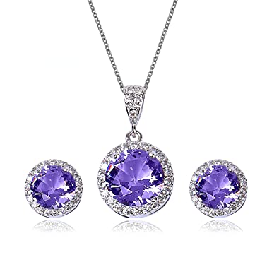 d25d569ef AMYJANE Amethyst Jewelry Set for Bridesmaids - Sterling Silver Round Purple  Cubic Zirconia Crystal Bridal Pendant