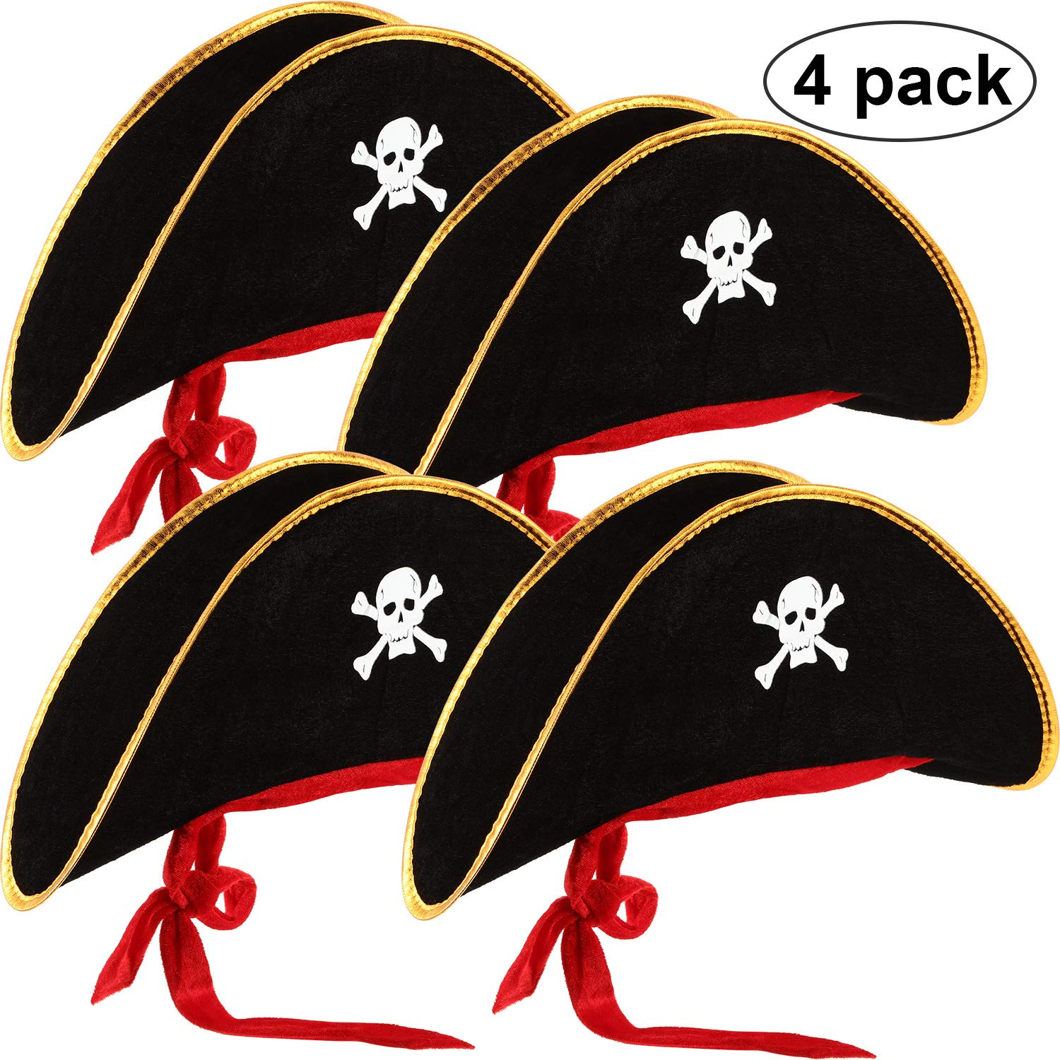 4 Pieces Pirate Hat Classic Skull Print Pirate Captain Costume Cap for Halloween Masquerade Party Cosplay Hat Prop by Hsei