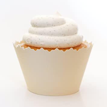 Cupcake Wrappers Solid Colors Adjustable Set Of 12 Vanilla Cream