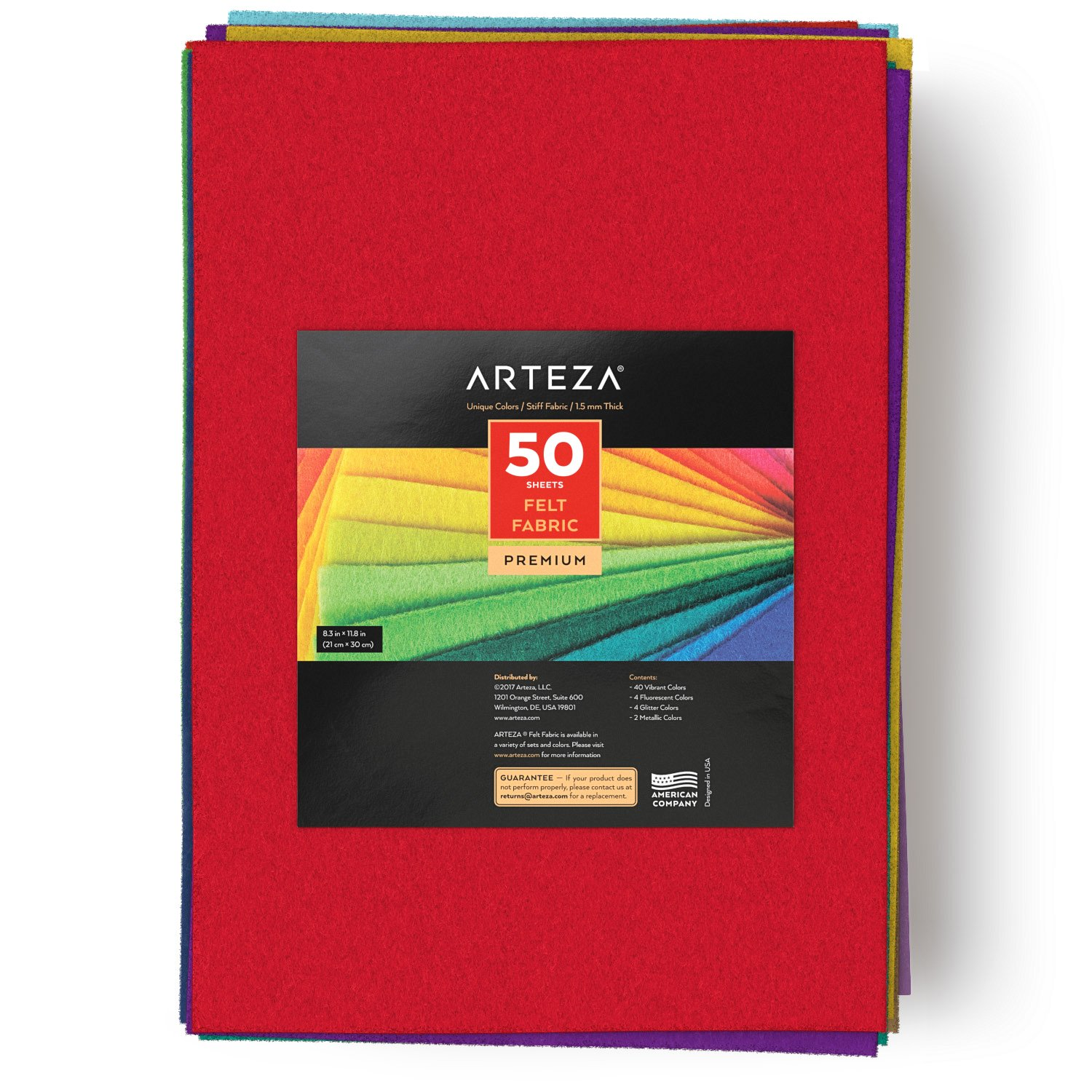 ARTEZA 50 Assorted Stiff Felt Fabric Sheets, 8.3''x11.8'' Squares, 1.5mm Thick for DIY Crafts, Sewing, Crafting Projects by ARTEZA (Image #4)