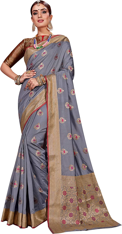 Sarees for Women Banarasi Art Silk Woven Saree | Ethnic Indian Wedding Gift Sari with Unstitched Blouse