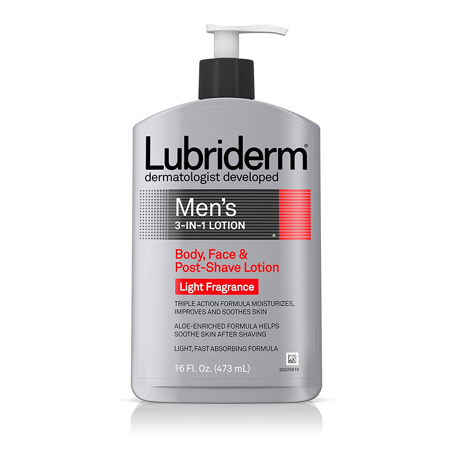 Lubriderm Men's 3-in-1 Lotion, Body, Face and Post-shave Lotion, Light Fragrance, 16 Ounce (Pack of 2)