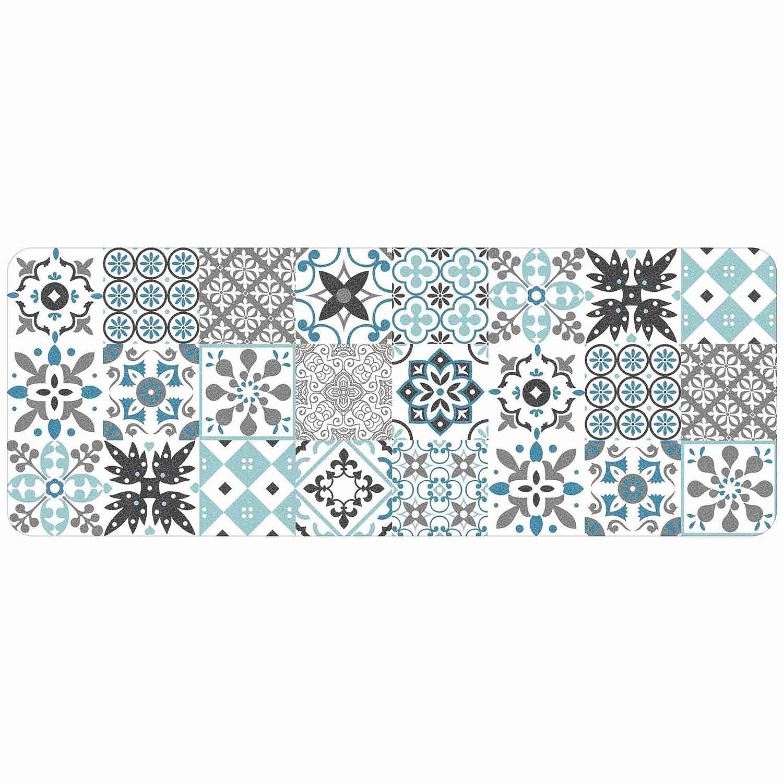 Tapis Deco Rectangle 45 x 120 CM Mousse Imprimee SALOU Bleu