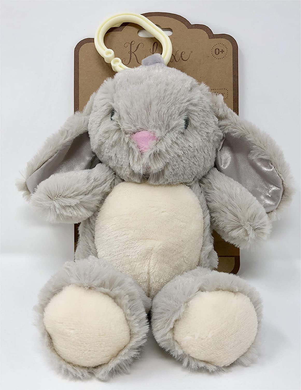 Clip on Pram Infant//Baby Toy with Rattle Kelly Toy Soft Plush Bunny K Luxe This Cuddly Bunny is The Perfect Companion for Your Little one on The go with The Attached Clip and Fun Rattle Sound