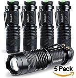 ilauke 5PCS Lampe Torche de Poche à LED CREE d'intensité Ajustable avec Clip 7W 350Lumen Super Lumineuse(Noir-lot de 5)