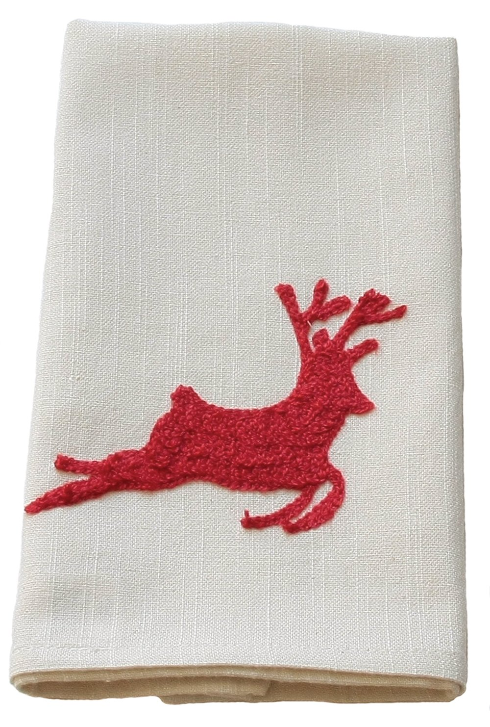 Xia Home Fashions Reindeer Crewel Embroidery Holiday Christmas Tea Towel, 14 by 22-Inch by Xia Home Fashions