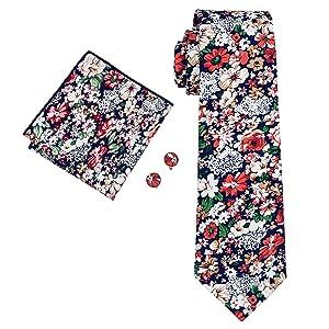 Hi-Tie Men's Floral Cotton Tie Set Wedding