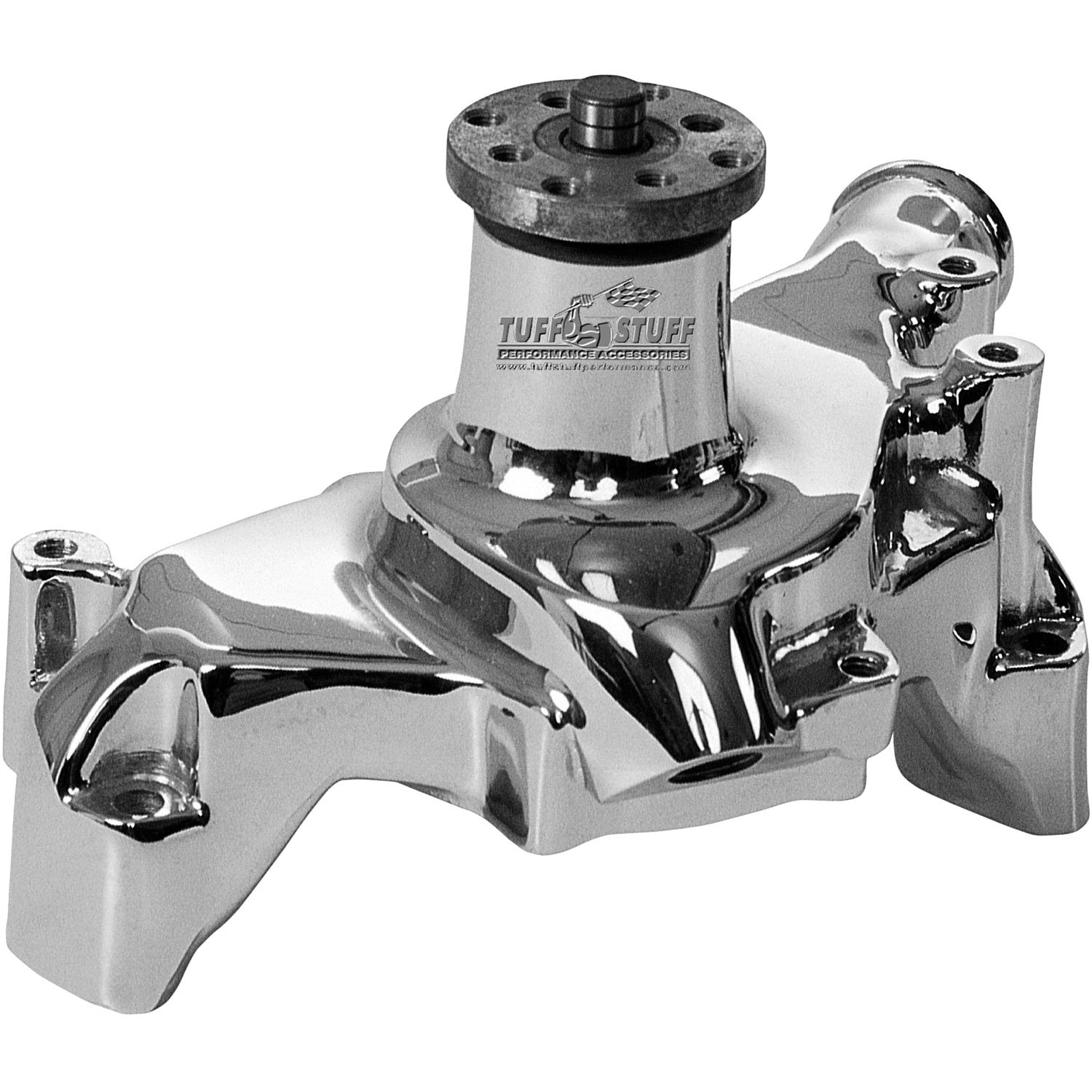 Tuff Stuff 1511NB Polished Aluminum Long Water Pump for Small Block Chevy