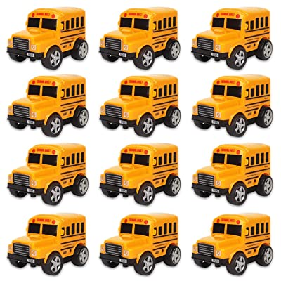 "12 Pack in Box Chubby School Bus Model Toys | 4"" Classic Long Nose Friction Powered Vehicles 