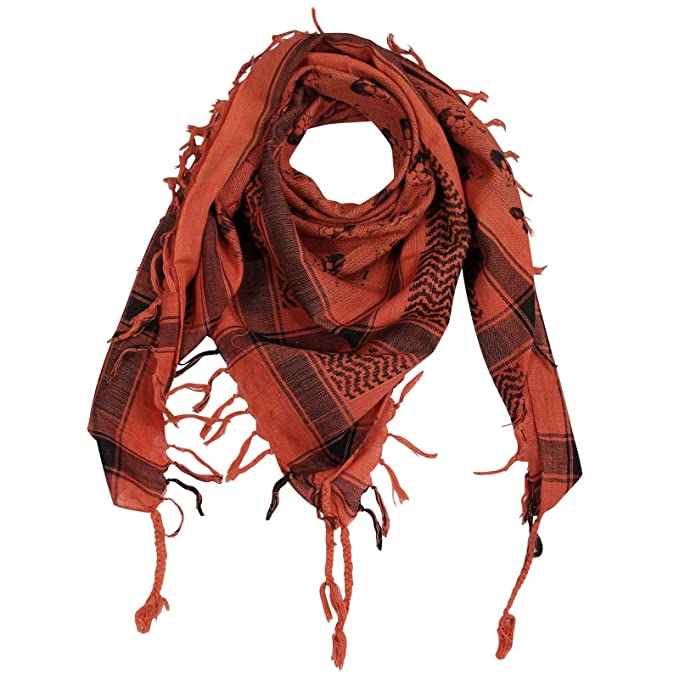 95504ed57c3 FREAK SCENE® Foulard palestinien keffieh en coton - motifs tête de mort n°2-100  x 100 cm - blanc motif vert olive  Amazon.fr  Vêtements et accessoires