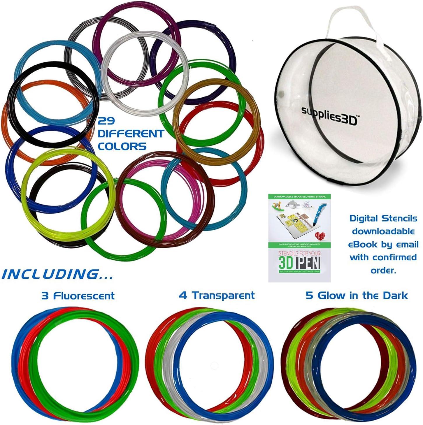 3D Pen Filament Refills - 1.75mm ABS Filament Bundle - 29 Colors Total 435ft Includes Transparent, Fluorescent, Glow in The Dark