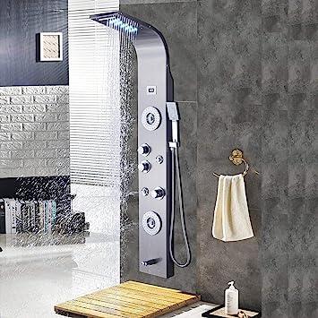 Saeuwtowy - Columna de ducha LED de alta calidad, panel de ducha ...