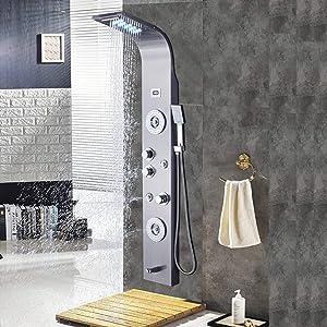 Chorros de masaje e Ducha de mano Acero Inoxidable Sistema con 6 Chorros De Masaje cascada y ducha de lluvia HENGDA Panel de ducha