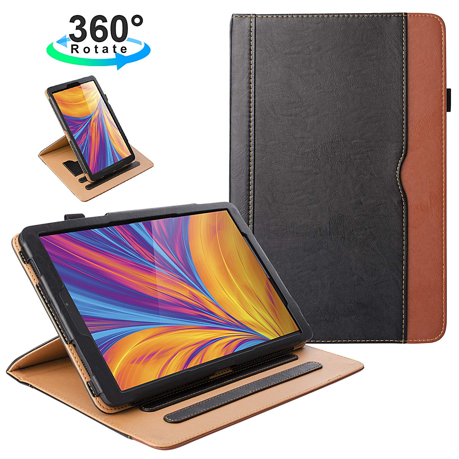 Zone Foker New Samsung Galaxy Tab A 10.1 Inch 2019 Tablet Leather Case, 360 Rotating Multi Angle Viewing Folio Stand Cases With Pencil Holder For Galaxy Tab A 10.1 Sm T510/Sm T515   Black/Brown by Zone Foker