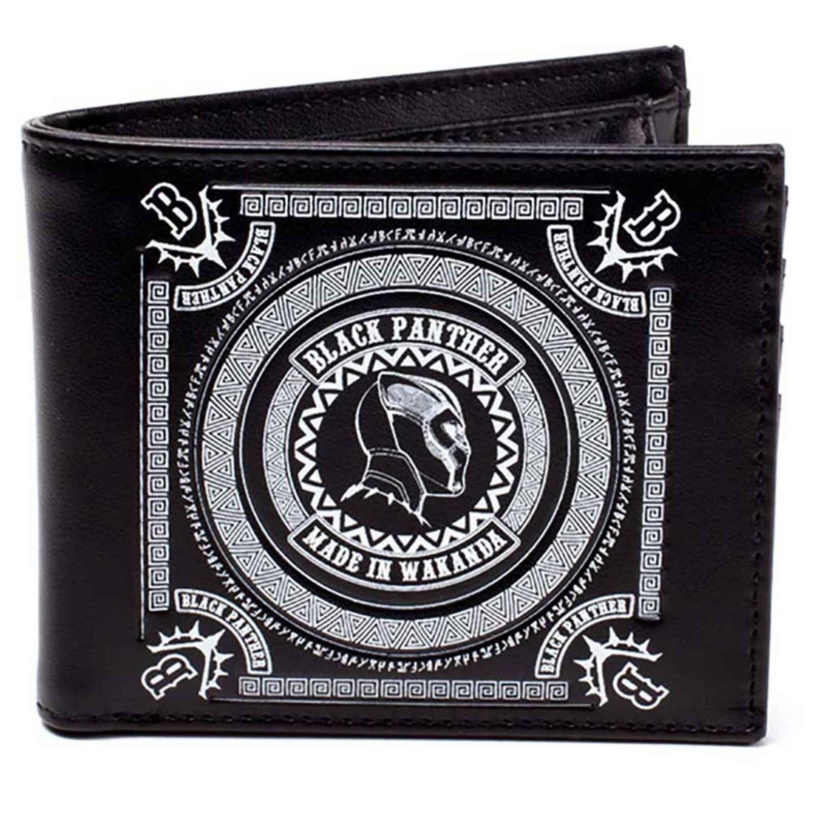 Black Panther Wallet Made In Wakanda Movie Logo Official Black Bifold