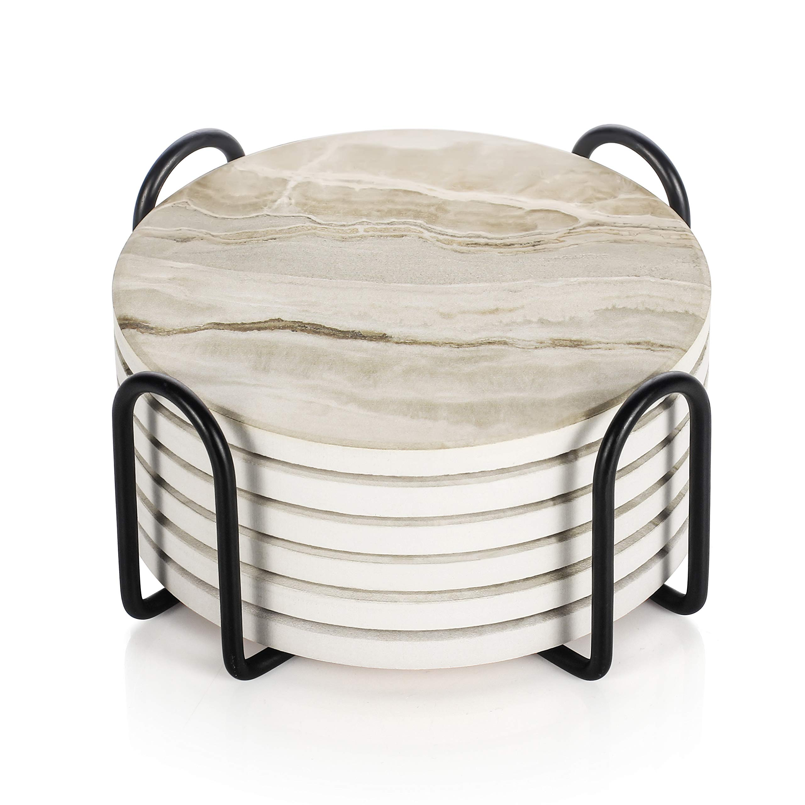 LIFVER Drink Coasters with Holder, Marble Style Absorbent Coaster Sets, Avoid Furniture Being Scratched and Soiled, Suitable for Kinds of Cups, 4 Inches, Set of 6