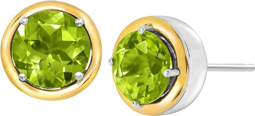 Natural Peridot Earrings  Birthstone Earrings  White Gold Plated S925 Sterling Silver Peridot Earrings  Natural Peridot Jewelry