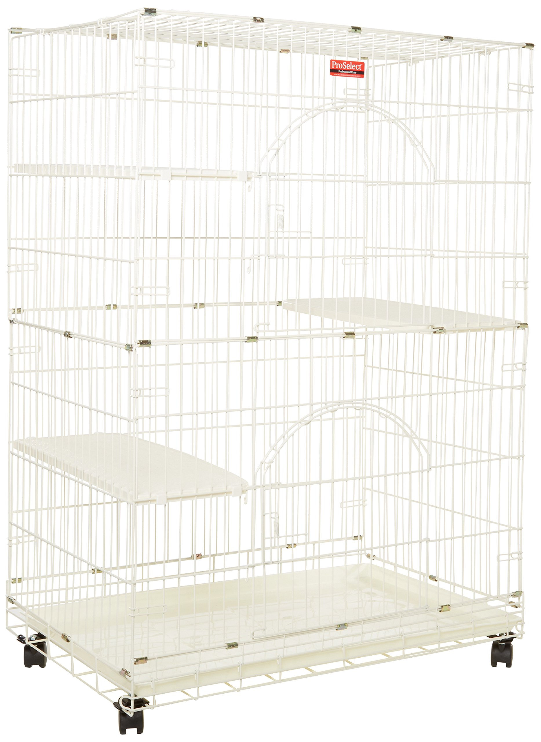 """ProSelect White Foldable Cat Cage – 8- and 12-Gauge Wire with Dimensions of 35.5"""" x 22.25"""" and 48"""" Height With Casters"""