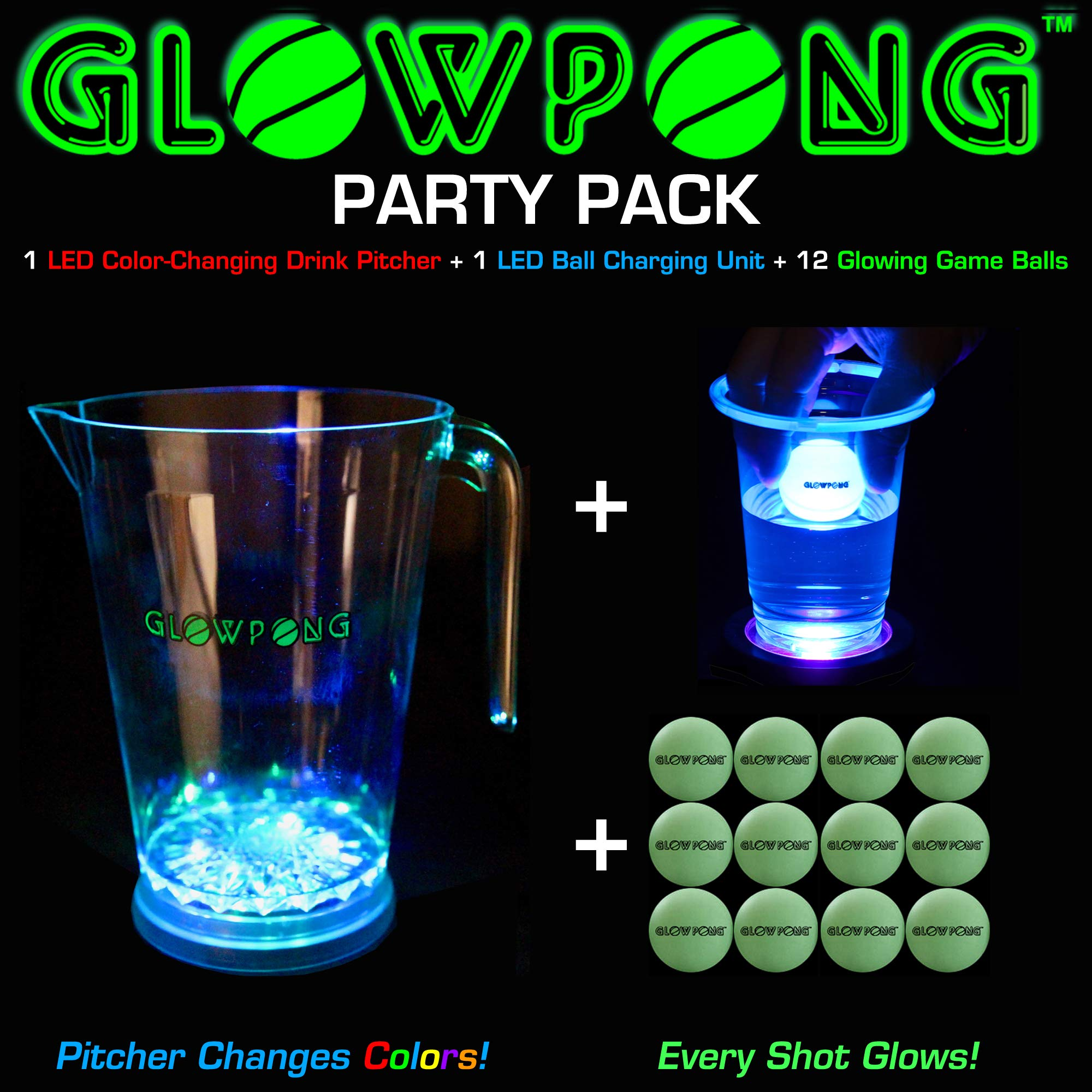 GLOWPONG Party Pack - 1 LED Color-Changing Drink Pitcher + 1 LED Ball Charging Unit + 12 Glowing Game Balls for Indoor Outdoor Nighttime Glow-in-The-Dark Beer Pong Drinking Game Fun and Competition by GLOWPONG