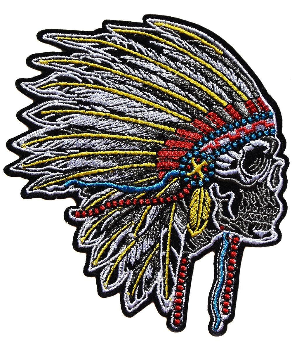 ecusson chef indien tete de mort skull crane us usa moto biker eagle  thermocollant 12x10cm patche badge 80e0b08d12f