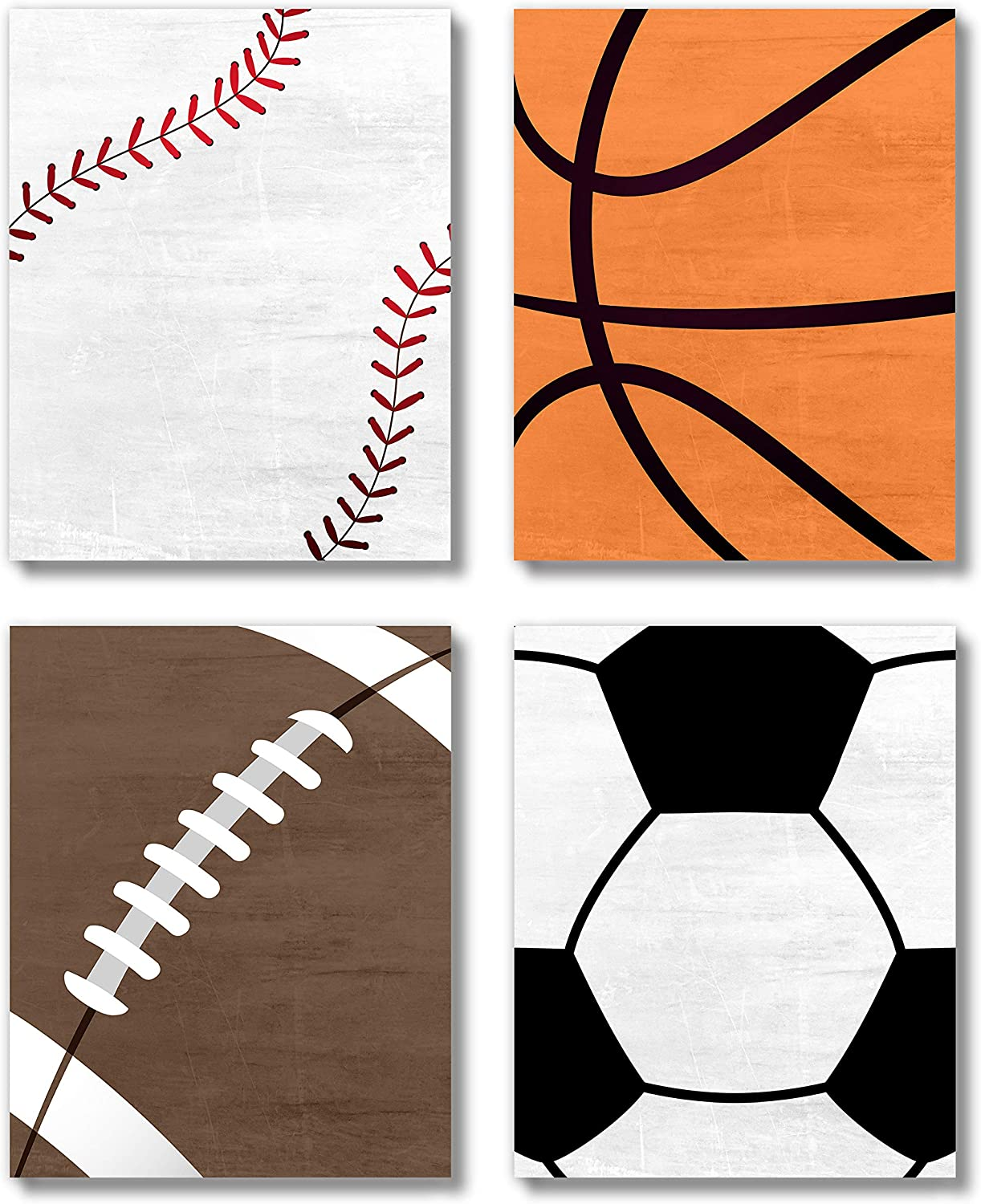 Brooke & Vine Sports Boys Room Nursery Wall Decor Art Prints Set (UNFRAMED 8x10) Basketball, Baseball, Soccer, Football Farmhouse Toddler, Baby Girl, Baby Boy, Kids Playroom, Classroom (Sports Balls)
