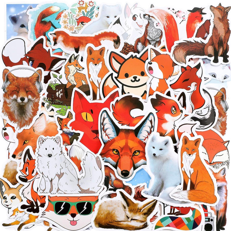 100 Pieces Fox Stickers Mixed Cartoon Fox Decals Waterproof Fox Water Bottle Sticker Vinyl Cute Animal Decorative Sticker for Laptop Luggage Car Bike Phone Case, Fox Stickers Pack for Teen, Adult, Kid