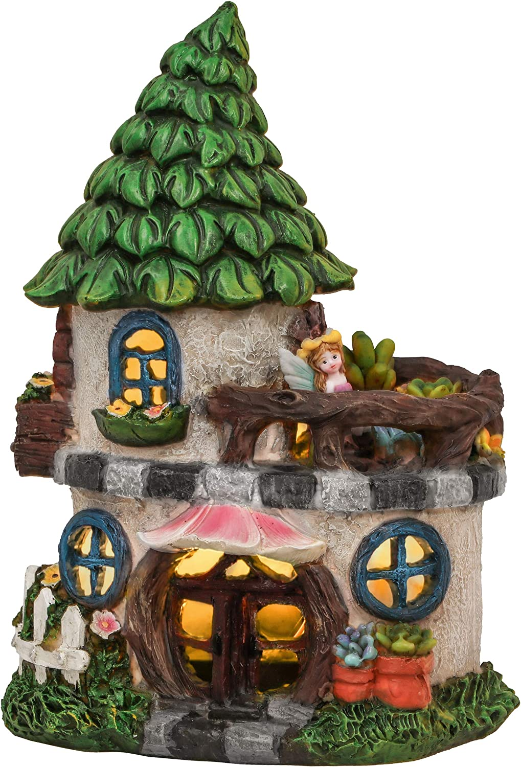 TERESA'S COLLECTIONS Fairy Garden House Statues with Solar Powered Lights, Waterproof Resin Outdoor Angel Cottage Figurines for Patio Lawn Yard Decorations, 8.7 Inch